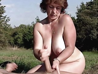 bbw Brunette BBW-Milf Outdoors by Young Guy mature milf